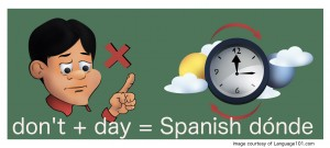 Piecing together sounds alike words from your own language to learn a new like Spanish can help you remember faster.